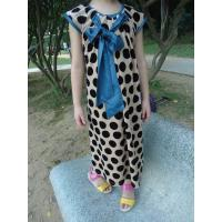 Buy cheap Stretched Little Girl Velvet Dresses , Black Polka Dots Fall Color Block Dress product