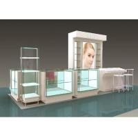 China Flooring Type Beauty Product Display Stand  Cosmetic Display Showcase With Glass Shelf on sale