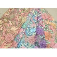 Buy cheap Bead Embroidered Lace Fabric, Scalloped Multi Color 3D Flower Lace Fabric For Dress product