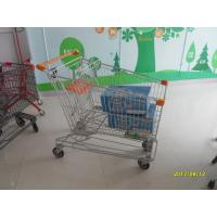 China Asian Style 180L Supermaket Wire Shopping Trolley Cart With orange plastic parts SGS TUC wholesale