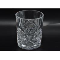 Buy cheap 313ml Leave Pattern Embossment Clear Votive Glass Candle Holders Replacement Candle Jar product
