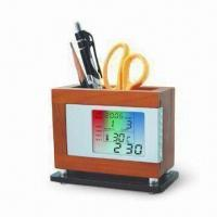 Wooden Pen Holder with LED Backlight Flashing in Seven Colors, Timer and Special Day Reminder