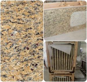 Buy cheap Venetian Gold Solid Granite Worktops For Bathroom Vanity / Kitchen product