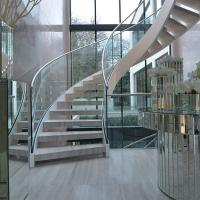 Buy cheap House Used Woodern Tread Curved Staircases with Railing and Handrail product