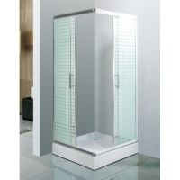 Buy cheap Sector Tray Shape Steam Shower Cabin With Square White Border Sliding Door product