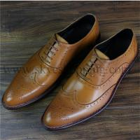 Quality Skyeshopping 100% Genuine Leather Calfskin Bespoke Mens Goodyear Welted Oxford  Brogues Shoes for sale