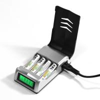 China LCD Rapid 4 Slot Smart Rechargeable Battery Charger for AA AAA NiMH NiCD Battery on sale