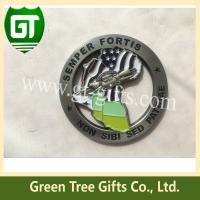 China 4mm thickness Cut out effect map shape challenge coin with soft enamel style on sale
