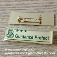 Buy cheap Engraved monogram letters collar lapel pin with safety pin, product
