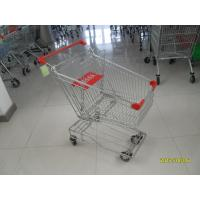 Buy cheap Asian Type 80L Wire Shopping Carts shopping trolley with red plastic parts product