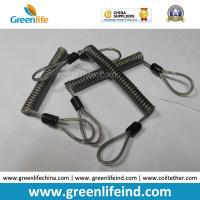 Buy cheap Double loops Wire Reinforced Plastic Spiral Lanyard Transparent Black Anti-theft Retainer product