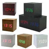 Buy cheap Hot USB/AAA Powered Cube LED Digital Alarm Clock Square Modern Sound Control Wood Clock Display Temperature Night Light from wholesalers