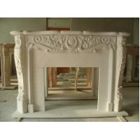 Buy cheap white color stone fireplace,flower carved stone fireplace product