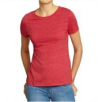 Buy cheap Solid Color Womens Hemp Cotton Clothing Red Plain T Shirt OEM Service Available product