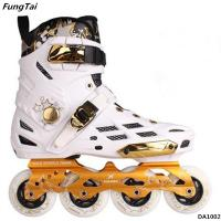 Buy cheap Mens And Womens 4 Wheels Inline Skate Shoes Street Slalon Roller Patins Black White Color (DA1001-1002) product