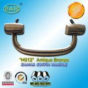 18.7*7.6 cm size metal coffin handle H012 zinc alloy funeral hardware zamak screw rod bronze color