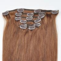 China Factory Price Brown Hair Color Silky Striaght Clips in Hair Extension in stock on sale