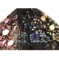 Buy cheap Flower Embroidered Sequin Lace Fabric , Multi Colored 3D Flower Mesh Lace Fabrics product