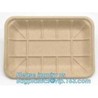 Buy cheap corn starch biodegradable meat tray corn starch dinnerware sets  biodegradable cake tray Rectangular Tray Paper Food Tra product