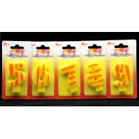 Number Birthday Candles 0-9 Yellow Candle  with Orange color Stripe Painting