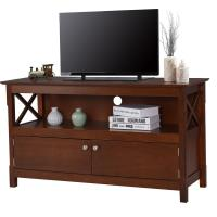 Large Living Room Wooden Television Stands With Open Shelf / X Side Cabinets