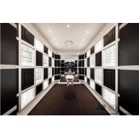 China Eyeglass display case Optical store interior design by Wall eyeglass display cabinets in Black with White glossy racks on sale