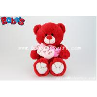 Buy cheap Personalized Gifts Red Lovely Teddy Bears With 3 Hearts for Valentines Day product
