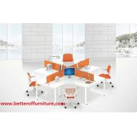 Buy cheap Crossed seat 4 person office desk furniture 30*60 steel tube MDF+MFC wooden top product