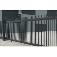 China Stain Black powder coated Crimped Spear Tubular Security Garrison Fencing Panels  with fencing gates on sale