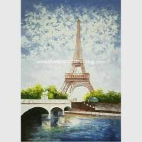 Contemporary Palette Knife Painting  Eiffel Tower Covered With Thick Plastic Layer