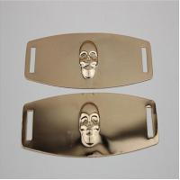 Buy cheap Eco-friendly plating iron sheets gold color embossed skull logo shoe metal buckles for shoelace product