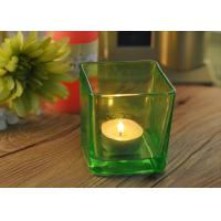 Buy cheap OEM Square Replacement Glass Candle Holder With Different Colors product