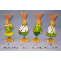Colorful Polyresin Figurine Easter Rabbit Figurines With Spring 4 X 4 X 11.5 Cm