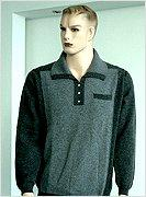 Sweater, men's, HYBRID CASHMERE, POLO SHIRT, 12GG