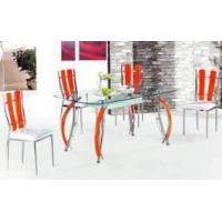 Buy cheap dining table, 12mm tempered glass/chromed leg with wood T030 product