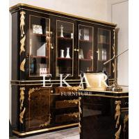China Vintage Empire Style Solid Wood Bookcase With Glass Doors TJ-029 on sale