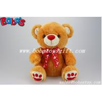 Buy cheap 100%Polyester Plush Toy Bear In Brown Color With Red Nose Paw and Ribbon product