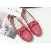 Buy cheap Red Pink Comfortable Trendy Shoes Ladies Leather Flats For Any Occasions product