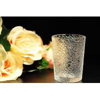 Buy cheap 8oz decorations clear candle holders , glass candle cups Leaf Pattern product