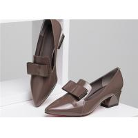 Quality Green Low Square Heel Shoes With Leather Bowknot , Lovely Low Block Heel Pumps for sale