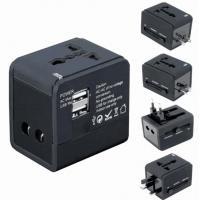 Buy cheap 5V 1A / 5V 2.1A Portable Universal Travel Adapter Black AC Wall Mount product