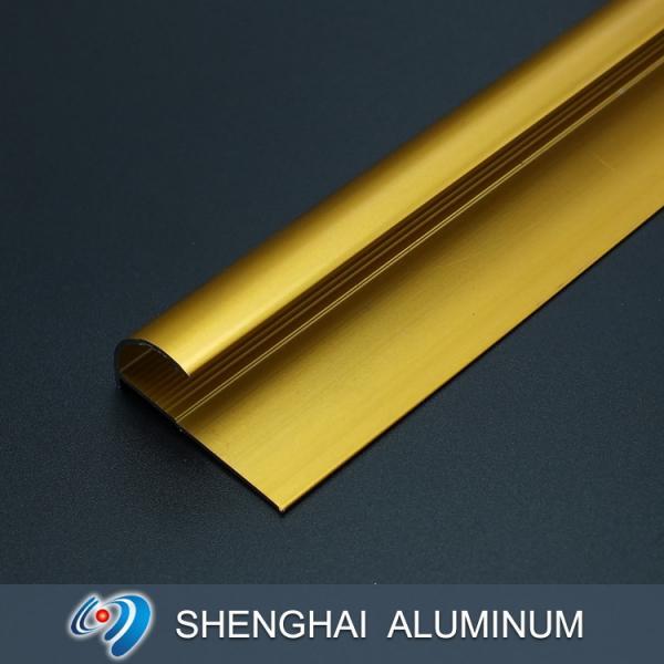 Quality Golden Anodized Surface Treatments 1-6M Aluminum Tile Trim Floor Edge Decoration Profiles for sale