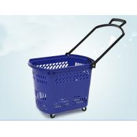 Buy cheap Durable Rolling Plastic Shopping Basket With Wheels OEM / ODM Available product