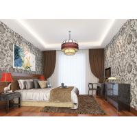 Buy cheap Grey Vinyl Embossed Victorian Damask Wallpaper Removable , Tear - resistant product