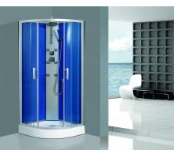Quality Framed Clear Corner Glass Shower Enclosure Sandblasted Blue Back Aluminum Panel for sale