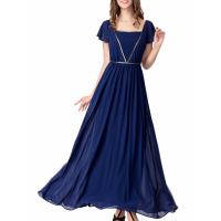 Quality Elegant Chiffon U Neck Womens Summer Maxi Dresses Royal Blue Flare Sleeves Big for sale