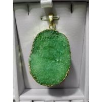 Quality Oval Shaped Agate Rocks Druzy Pendant Charm Gold Plated Jewelry Beads Jewelry for sale