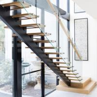 Buy cheap Modern Design Straight Glass Staircase with Solid Oak Staircase product