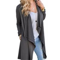 Viscose Blends Womens Long Cardigans Solid High Low Long Sleeve Open Front Cardigan