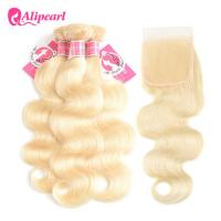 Buy cheap 3 Bundles Body Wave Blonde 613 Human Hair Weave With 4×4 Lace Closure product